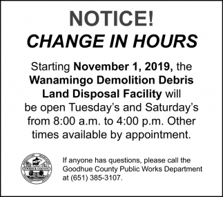 Notice! - Change in hours