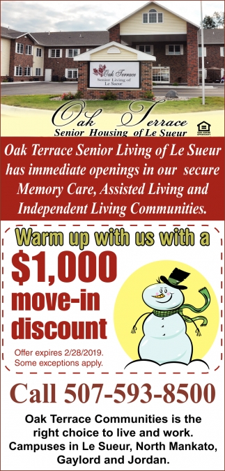 Warm up with us with a $1,00 move-in discount