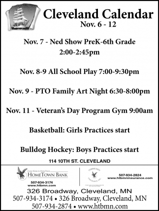 Cleveland Calendar ~ Nov. 6 - 12