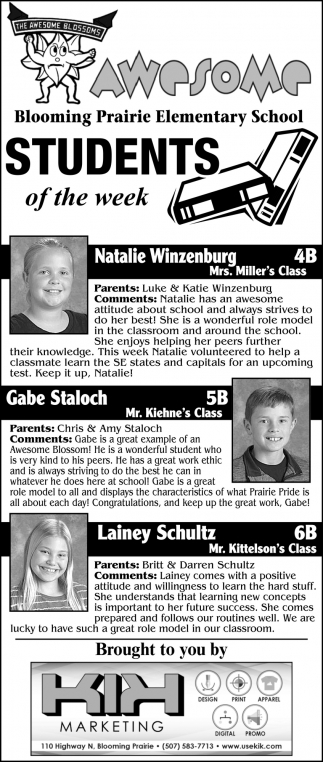 Students of the week - Natalie Winzenburg, Gabe Staloch, Lainey Schultz