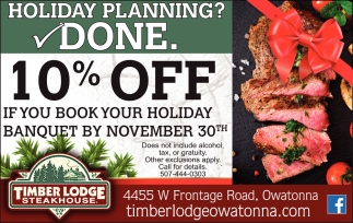 10% Off if you book your holiday banquet by november 30th