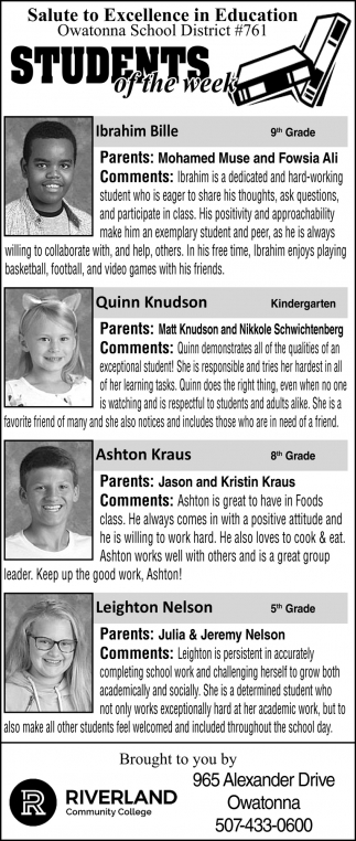 Students of the Week - Owatonna School District #761