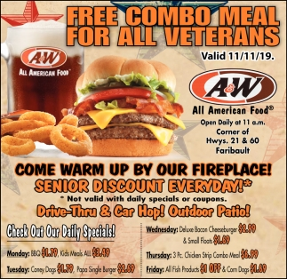 Free Combo Meal For All Veterans