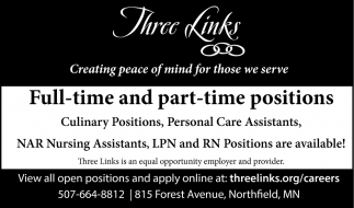 Full-time and part-time positions