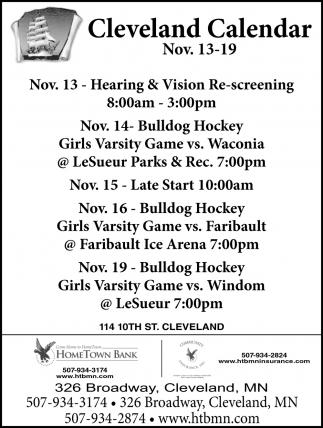 Cleveland Calendar ~ Nov. 13 - 19