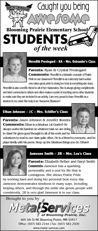 Students of the week -Meredith Prestegard, Ethan Johnson, Jameson Smith