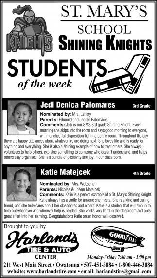 Students of the week- Jedi Denica Palomares, Katie Matejcek