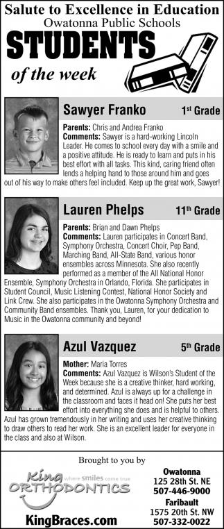 Students of the Week - Sawyer Franko, Lauren Phelps, Azul Vasquez