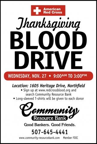 Thanksgiving Blood Drive