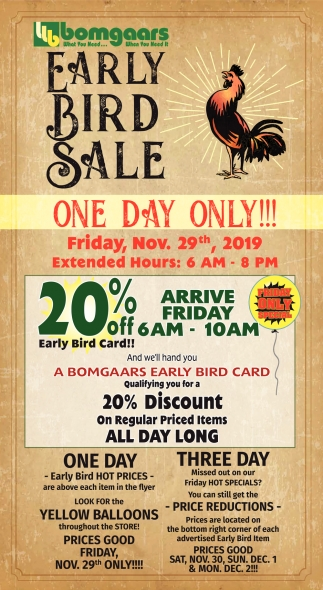Early Bird Sale - One Day Only!