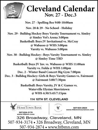 Cleveland Calendar ~ Nov. 27 - Dec. 3