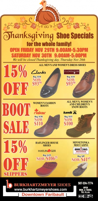 Thanksgiving Shoe Specials