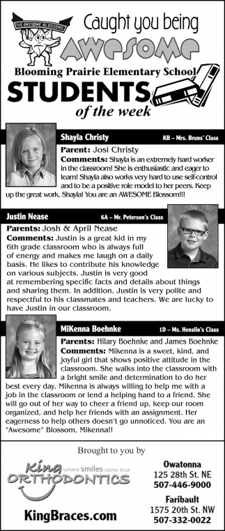 Students of the Week - Shayla Christy,  Justin Nease, MiKenna Boehnke