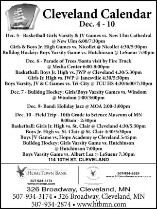 Cleveland Calendar ~ Dec 4 - 10