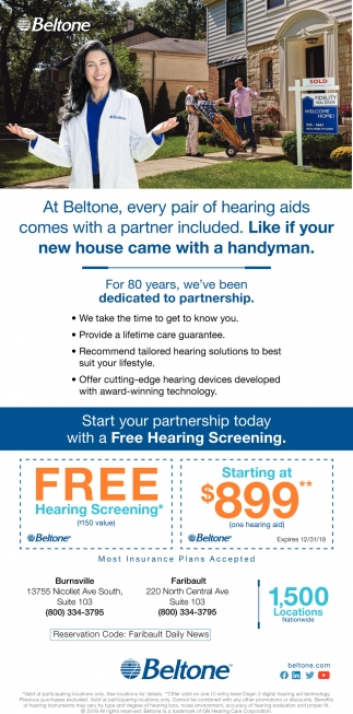 At Beltone every pair of hearing aids comes with a partner included