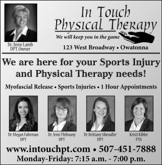 We are here for your Sports Injury and Physical Therapy Needs!