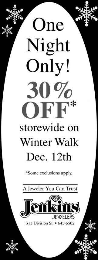 One Night Only! 30% Off
