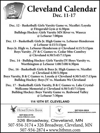 Cleveland Calendar ~ Dec 11 - 17