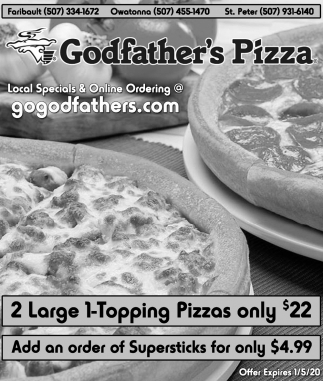 2 Large 1-Topping Pizzas only $22