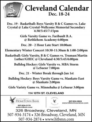 Cleveland Calendar ~ Dec 18 - 24
