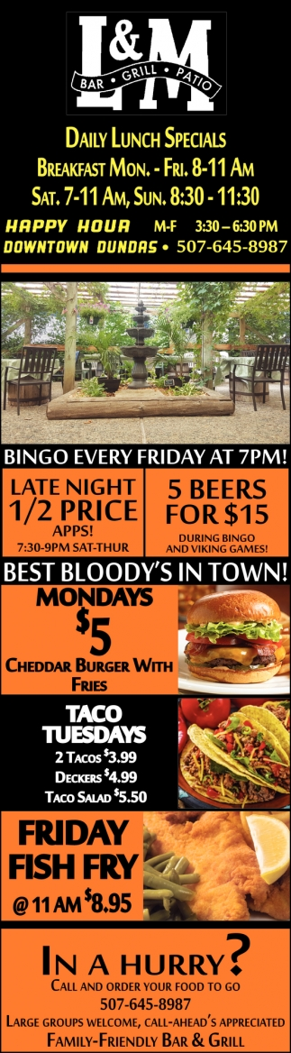 Daily Lunch Specials - Happy Hour