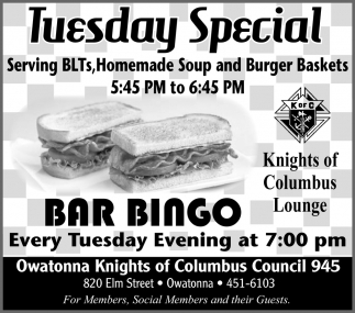 Tuesday Special - Bar Bingo