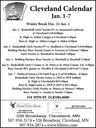 Cleveland Calendar ~ Dec 21 - Jan. 1