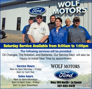 Saturday Services Available from 8:00am to 1:00pm