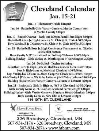 Cleveland Calendar ~ Jan. 15 -21