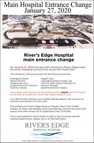 Main Hospital Entrance Change - January 27