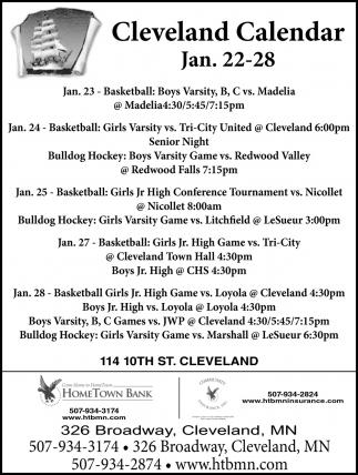 Cleveland Calendar Jan. 22 - 28
