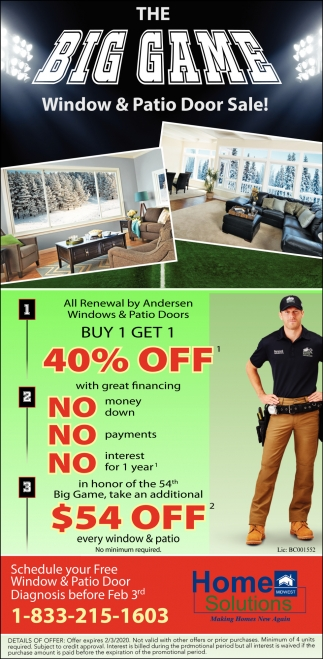 The Big Game - Window & Patio Door Sale!