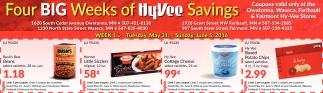 Four BIG Weeks of HyVee Savings