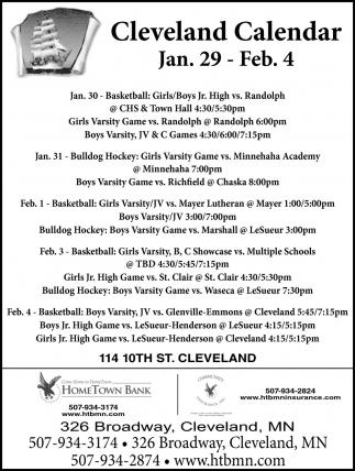 Cleveland Calendar Jan. 29 - Feb. 4