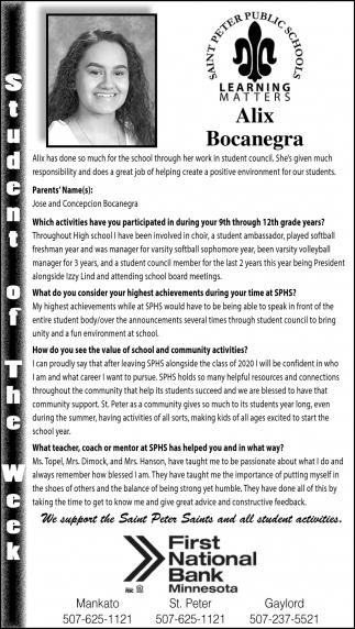 Student of the Week - Alix Bocanegra