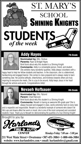 Students of the Week -Addy Hayes, Nevaeh Hofbauer
