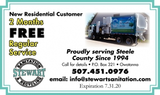 New Residential Customer 2 Months Free Regular Service