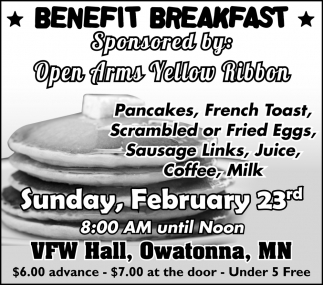 Benefit Breakfast - Sponsored by: Open Arms Yellow Ribbon