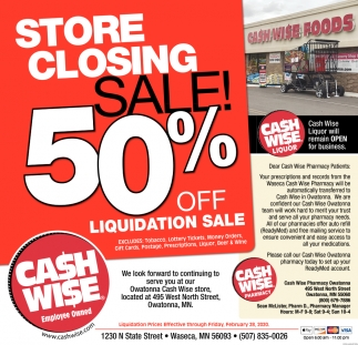 Store Closing sale 50% Off Liquidation Sale