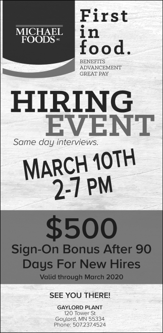 Hiring Event - March 10th