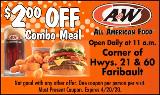 $2 off combo meal
