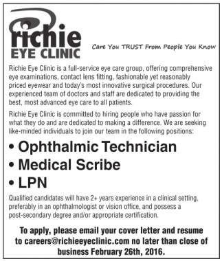 Richie Eye Clinic is a full-service eye care group