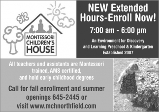 NEW Extended Hours-Enroll Now!