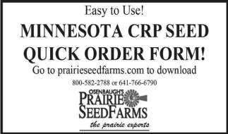 Minnesota Crp Seed Quick Order Form Prairie Seed Farms