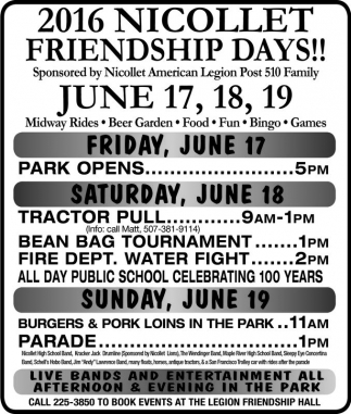 2016 NICOLLET FRIENDSHIP DAYS!!