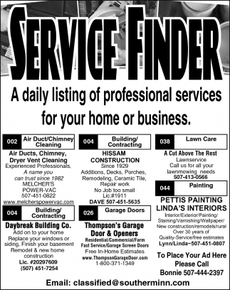 A daily listing of professional services for your home or business