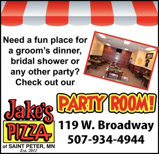 Ads For Jake's Pizza  in Southern Minn