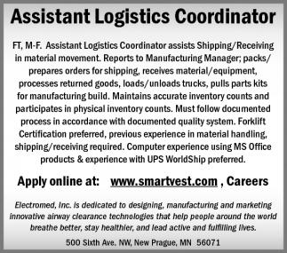 Assistant Logistics Coordinator