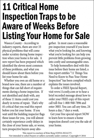 11 Critical Home Inspection Traps to be Aware of Weeks Before Listing Your Home for Sale