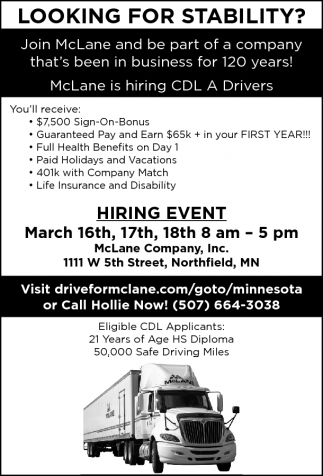 LOOKING FOR STABILITY?